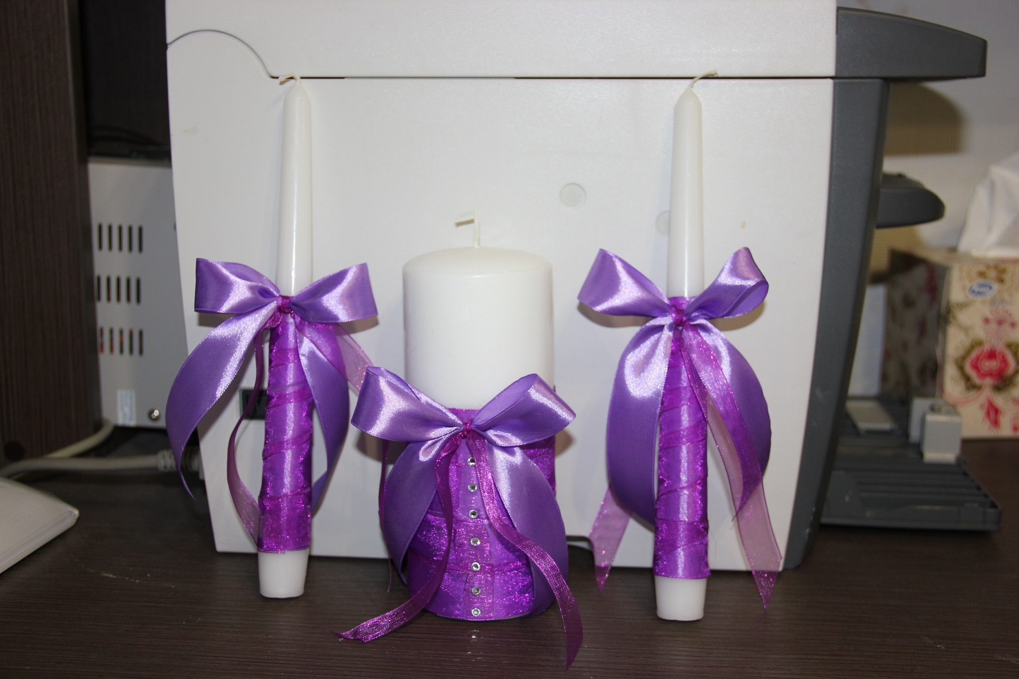 Свечи на свадьбу своими руками украсить лентами
