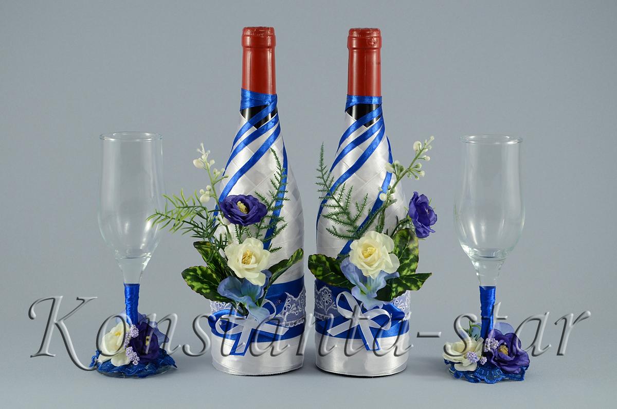 Украсить бутылку шампанского своими руками атласными лентами