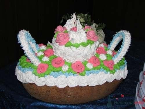 Торт на свадьбу, украшенный цветами. - фото 119 simik