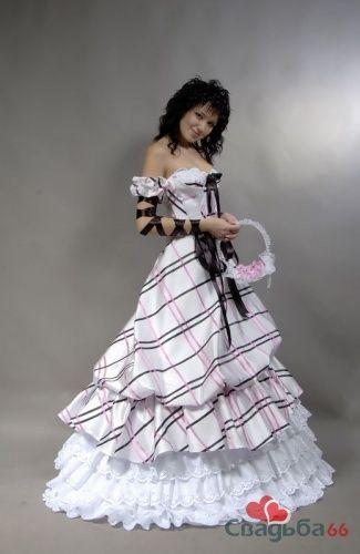 Неформальное свадебное платье в клетку.