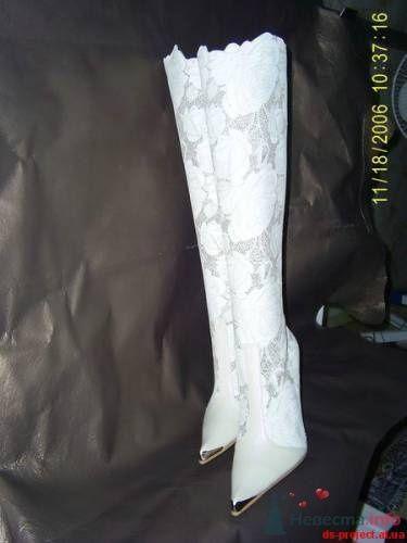 Белые высокие кружевные сапоги на свадьбу. - фото 73 simik