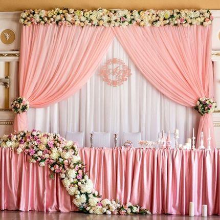 Оформление зала, президиум жениха и невесты