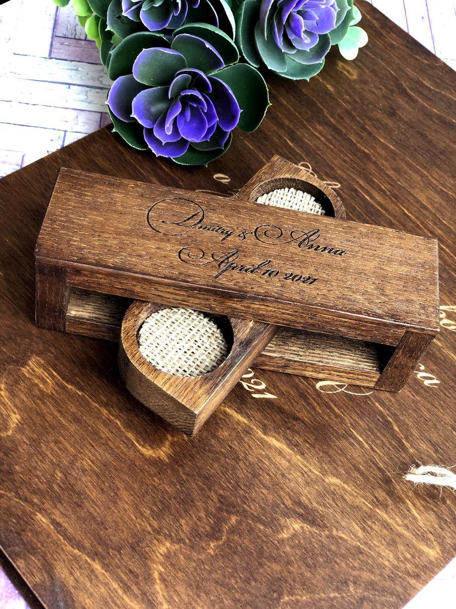 Деревянная шкатулка для колец прямоугольная