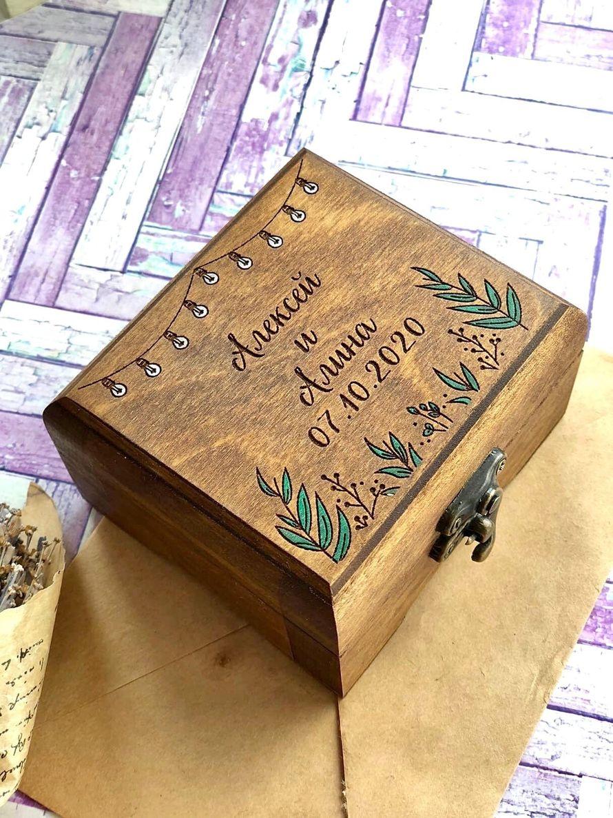 Деревянная шкатулка для колец квадратная