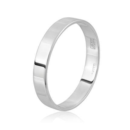 Кольцо обручальное плоское из белого золота