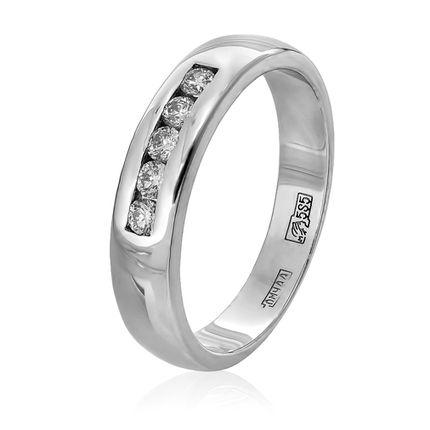 Кольцо обручальное из белого золота с 5 бриллиантами