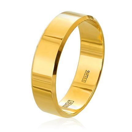 Обручальное кольцо плоское c алмазной фаской в желтом золоте
