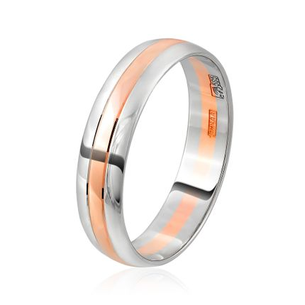 Обручальное кольцо двусплавное из белого и красного золота классическое