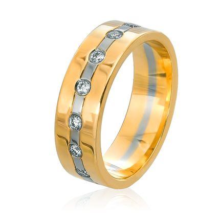 Обручальное кольцо белое и жёлтое золото с бриллиантами по кругу