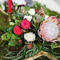 зимний свадебный декор с использованием мха. Необычные цветы в композиции-смело и оригинально