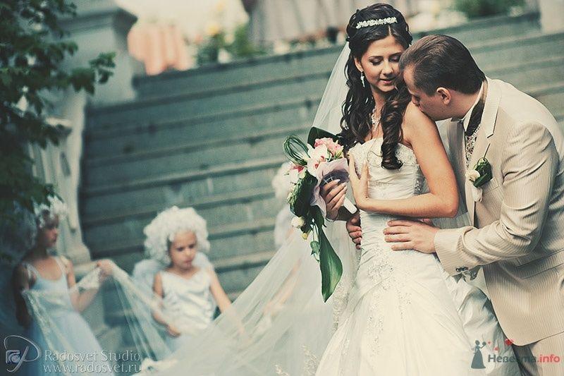 Жених и невеста стоят, прислонившись друг к другу, возле серых ступенек - фото 40759 Фотограф Радосвет Лапин