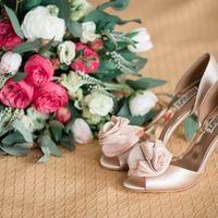 свадебные туфли, свадебный букет