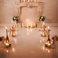 выездная регистрация, свечи, золото, камин, свадьба, арка, флористика