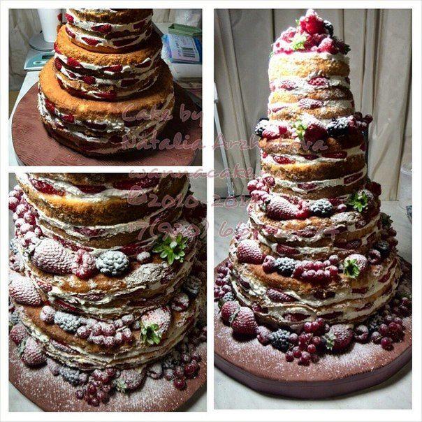 Тренд прошлого сезона (2014) - голый торт, он же - рустик. - фото 3623477 Свадебные торты от Наталии Аржаковой