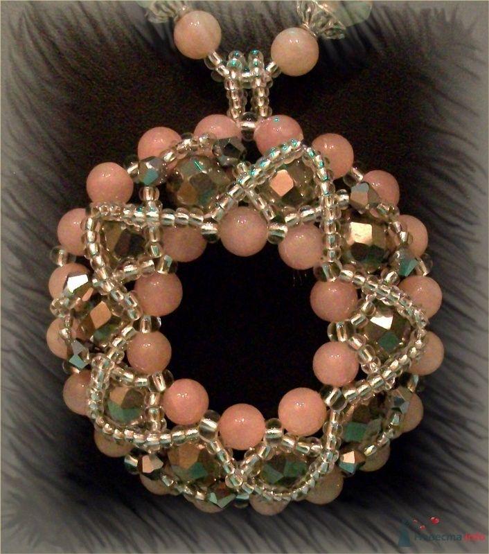 Подвеска из бусин и камней (розовый кварц). Чешский бисер - фото 79278 Невеста01
