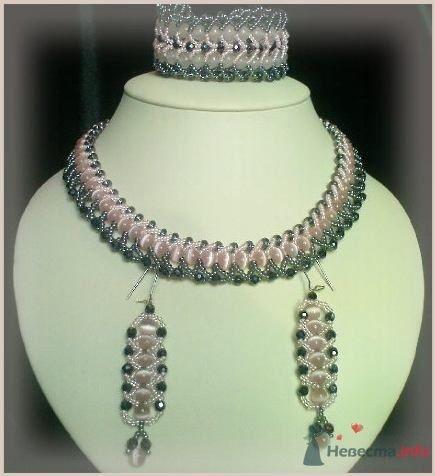 Набор (ожерелье, браслет и серьги) Из розового кошачьего глаза, чешской фурнитуры - фото 79291 Невеста01