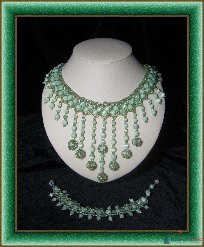 Ожерелье из зеленого кошачьего глаза и браслет - фото 79295 Невеста01