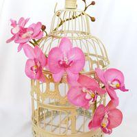 винтажная клетка с орхидеями из холодного фарфора