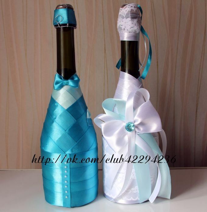 Украсить шампанское тканью