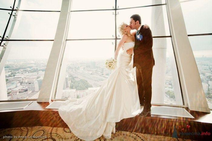 Жених и невеста стоят, прислонившись друг к другу, возле огросмного окна - фото 56314 Анна Горбушина - фотоагентство SunStudio