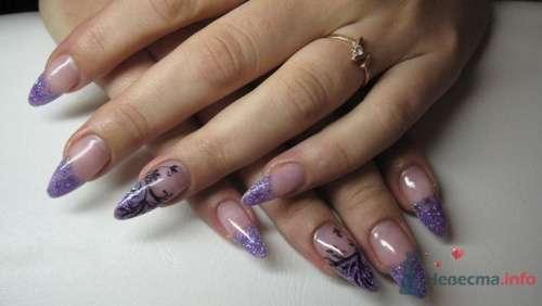 Сиреневый френч стилеты - фото 6246 PerfectioNails - наращивание ногтей гелем и акрилом