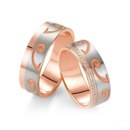 Обручальные кольца из красного золота с бриллиантами на заказ