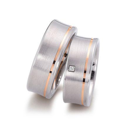 Широкие обручальные кольца из белого матового золота на заказ