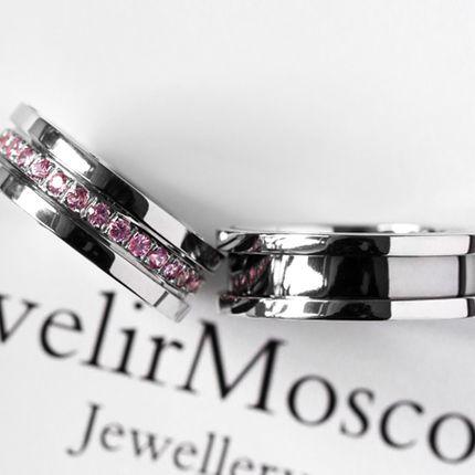 Обручальные кольца с розовыми сапфирами (Арт 1551)