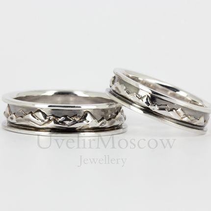 Обручальные кольца с рельефом гор (арт.3446)