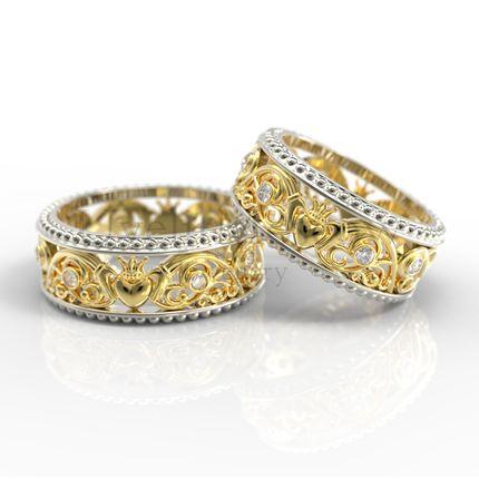 Обручальные кольца с кладдахским символом (Арт 1006)