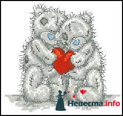 """Мишки-Тедди  пример рисунка на бокалы - фото 122903 """"Aнютa"""" - свадебные бокалы и аксессуары"""