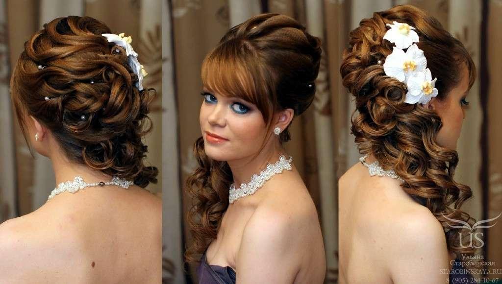 прически свадебные на средний и длинный волос