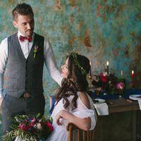 невеста, букет невесты, синий, бордовый, бохо, рустик