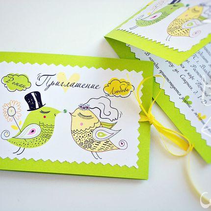 """Приглашение """"Свадебные птички"""", 1 шт."""