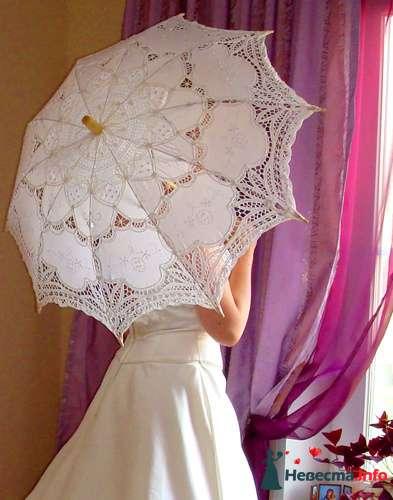 Кружевной белый зонт - фото 108429 Платье для Золушки - прокат свадебных платьев