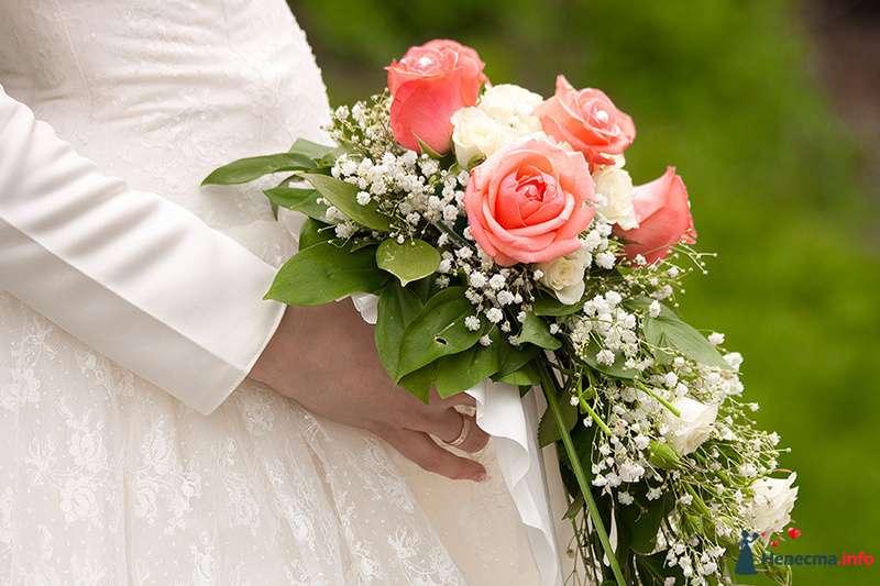 Каскадный букет невесты из розовых и белых роз, белой гипсофилы и зеленого берграсса, декорированный белым кружевом  - фото 113142 Фотограф Кручинина Екатерина