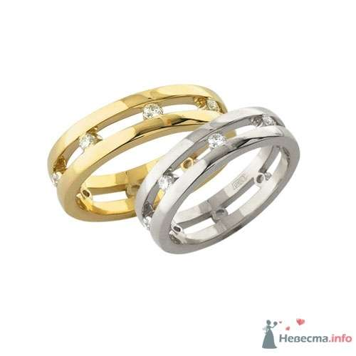 Обручальные кольца из белого и желтого золота - фото 9116 Интернет-магазин Miagold
