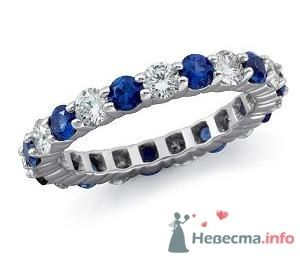 Помолвочное кольцо с бриллиантами и сапфирами - фото 9126 Интернет-магазин Miagold