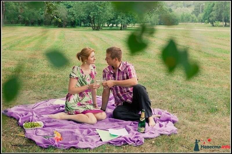Пикник молодоженов летом на природе на розовом покрывале - фото 123813 Невеста01