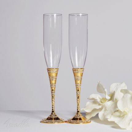 Свадебные бокалы золотые