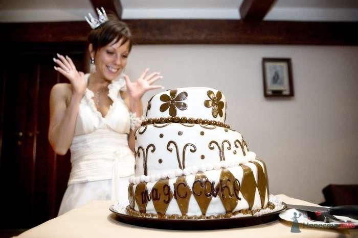 Трехъярусный свадебный торт, в белой мастике, украшенный коричневыми рисунками из сахарной пасты - фото 59760 Дашка