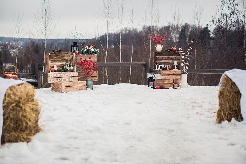 Зимняя выездная регистрация, декор в стиле рустик  - фото 3536303 Фотограф Янна Левина