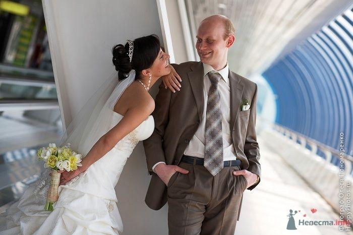 """Классический коричневый костюм жениха """"двойка"""" с коричневым полосатым - фото 23609 Arcangel"""