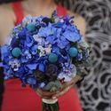 Синий букет невесты из гортензий, краспедий, лаирусов, незабудок и скабиозы