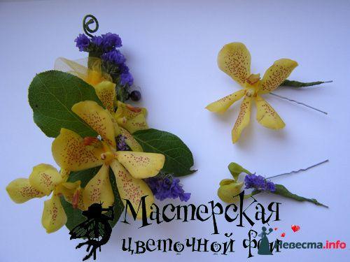 заколка для волос + шпильки - фото 121611 Мастерская цветочной феи - цветы