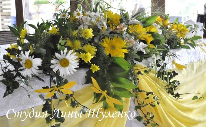 Желтая свадьба в Крыму.Оформление свадебного зала живыми цветами.Свадебный декор,Симферополь.Украшение стола молодых.