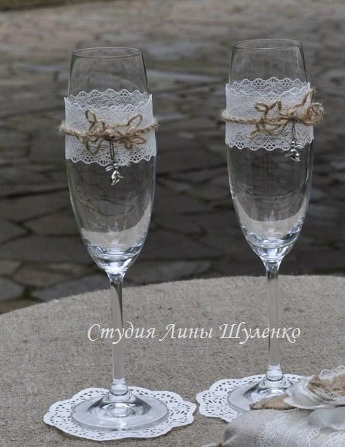 Свадебные бокалы в стиле рустик. Рустикальная свадьба в Крыму.