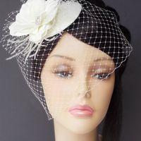 Свадебная шляпка с вуалью, цвет айвори