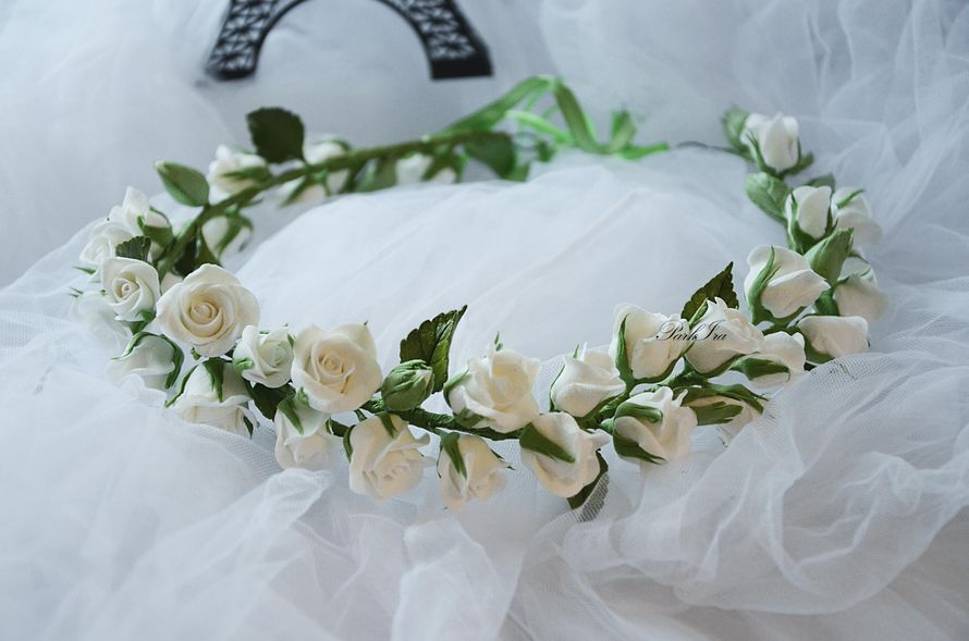 Свадебный веночек с розами - фото 1317536 ParkIra - украшения цветами из полимерной глины