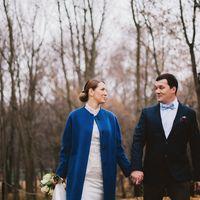 октябрь, свадьбы, осень,синее пальто и белое платье